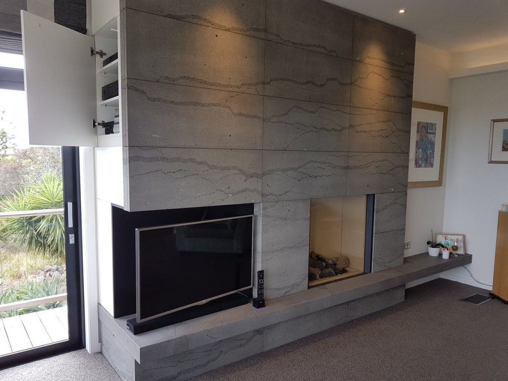 Bluestone Fireplace with corner recess for television