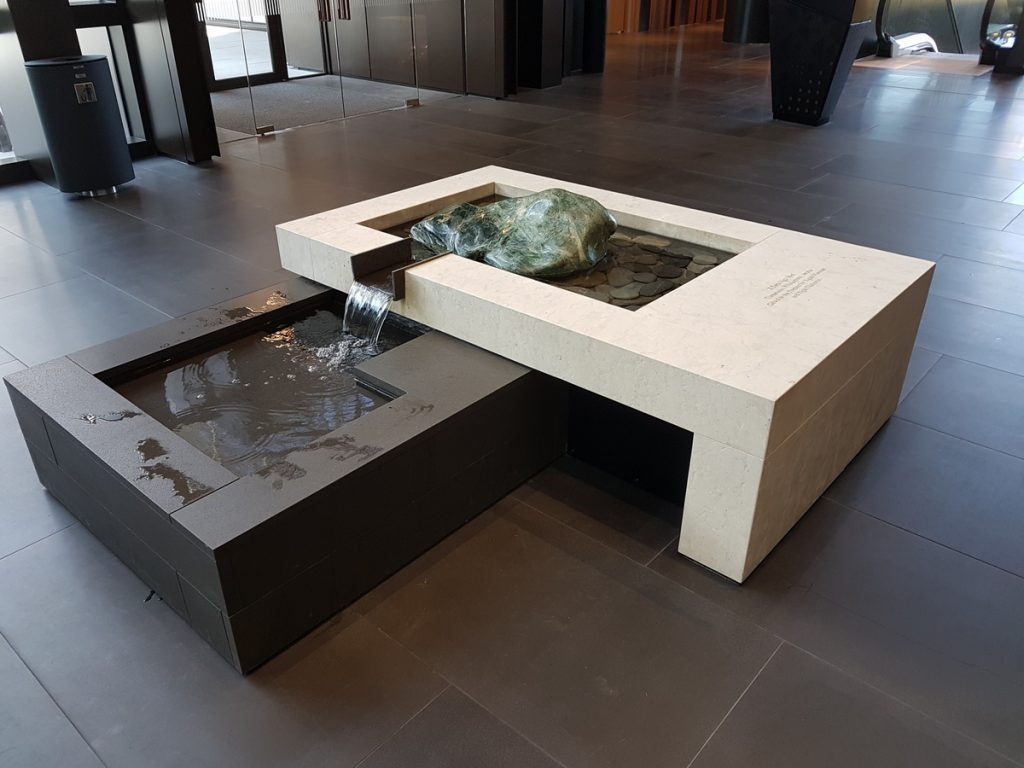Water Feature at Christchurch Justice Precinct using Bluestone and Mount Somers Limestone